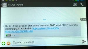 bluff sms om vinst på Coop